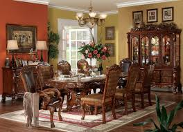 acme dresden 7 pc pedestal dining table set in brown cherry oak by
