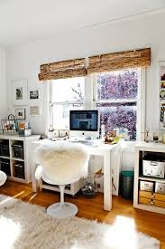 office decorating ideas with bamboo blinds for the window and faux fur chair cover and area rug