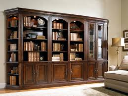 Cherry Wood Bookcase With Doors Five Library Wall Unit With Touch Lighting And Adjustable