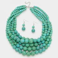 multi layered bead necklace images Natural howlite turquoise faceted beads three row layered jpg