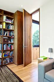Dark Wood Bookshelves by Crawl Space Doors Home Office Modern With Built In Bookshelves