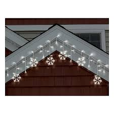 philips warm white led snowflake icicle string lights white