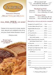 order your pies hours the fairway restaurant