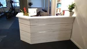 Whitewash Desk Hand Made White Washed Reclaimed Wood And Steel Reception Desk By