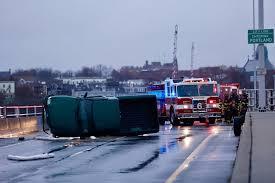 crash on casco bay bridge causes major traffic delay portland