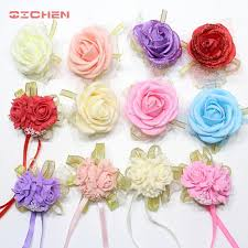 Curtain Band 20pcs Lot Wrist Flower Rose Silk Ribbon Bride Corsage Hand