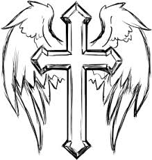 clipart cross with wings line