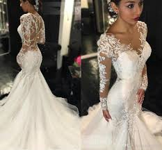 ivory lace wedding dress ivory wedding dresses mermaid see through sleeves beaded