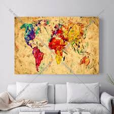 World Map Art Print by Aliexpress Com Buy Watercolor World Map Canvas Art Print