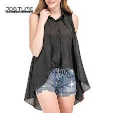 trendy blouses jogtume asymmetrical dovetail shirt sleeveless black grey