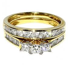 gold bridal set princess cut bridal wedding set 14k yellow gold three ring set