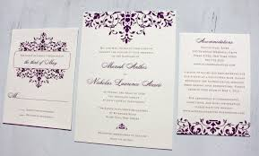 wedding invitation design purple scrollwork wedding invitations emdotzee designs