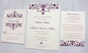 fancy wedding invitations purple scrollwork wedding invitations emdotzee designs