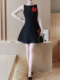 black and red above knee fit u0026 flare dress for casual office party