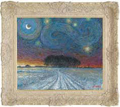 starry night with snow and distant woodland u2013 2017 the john