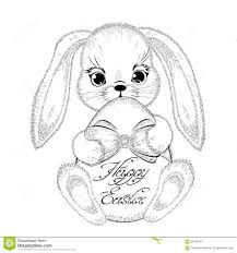hand drawn easter rabbit with paschal egg stock vector image