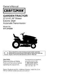 craftsman lawn mowers gardentractor 917 27528 pdf user u0027s manual