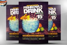 fish bowl and drink flyer template flyer templates creative market