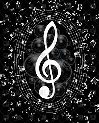 musical notes staff black background vector clipart image 105607
