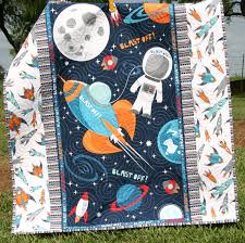 Rocket Ship Crib Bedding Space Quilt Baby Boy Blast Outer Space By Sunnysidedesigns2