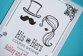 couples shower his and hers wedding shower invitations and hers illustrated