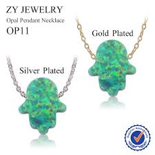 opal stone silver necklace images Hot fashion op11 green opal hamsa necklace 11 13mm fatima hand jpg