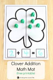 st patrick u0027s day free clover addition math mat