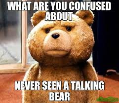 Talking Meme - what are you confused about never seen a talking bear meme ted