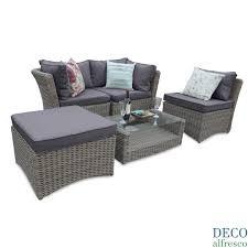 Grey Rattan Outdoor Furniture by 5pc Outdoor Modular Corner Rattan Garden Furniture Oatmeal Deco