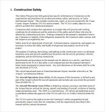 free construction safety plan template best template examples