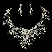 silver pearl necklace set images Dramatic silver clear crystal ivory freshwater pearl necklace