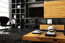 Black And Natural Wood Marcin Pajak Interior Designs Living Room - Wood living room design