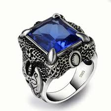 men rings stone images Mens blue stone rings brand anium thai silver men finger ring blue jpg