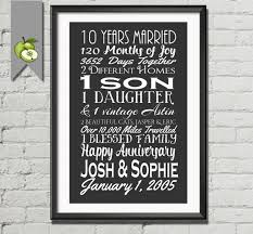10 year anniversary gift for 10th anniversary gift tenth anniversary gift husband