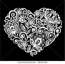 beautiful silhouette heart lace flowers leaves stock vector