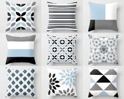light blue accent pillows throw pillow covers black white grey light blue m18 decorative