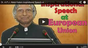 dr a p j abdul kalam inspirational speech in european union