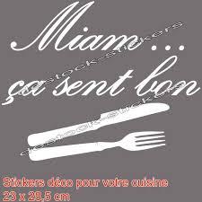 miam miam cuisine stickers autocollant déco cuisine miam ça sent bon en blanc 28 5