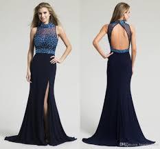 2017 fashion backless prom dresses crystal fabric split