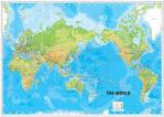 p0438แผนที่โลกโปสเตใหญ่ที่มีรายละเอียดแผนที่ทางกายภาพของโลก ...