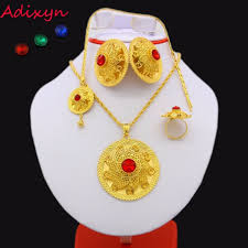 colored crystal necklace pendants images 2017 ethiopian jewelry set 24k gold color crystal necklace pendant jpg