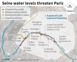 Map Of Paris France Louvre Museum Shuts Down Lower Level As River Seine Continues To