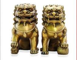lion dog statue large fengshui bronze coloured foo lion dogs statue
