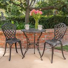 Aluminum Bistro Table And Chairs La Sola Outdoor 3 Cast Aluminum Bistro Set By Christopher