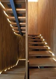 wooden stairs with lights bews2017