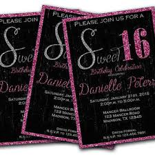 sweet 16 invitations glitter pink sweet 16 birthday from partyprintexpress on etsy