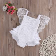 lovely white baby girl clothes lace floral bodysuit sunsuit outfits lovely
