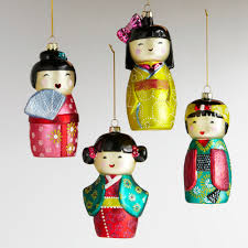 so glass kokeshi doll ornaments set of 4 world market