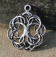 celtic tree of pewter pendant tin necklace charm pagan