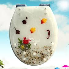 Toilet Seats Resin Soft Close White Transparent Seashell Novelty